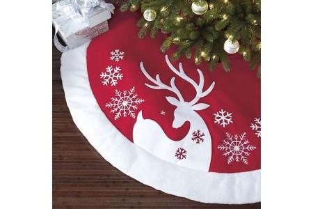 Christmas Tree Skirt Luxury Faux Fur Red Reindeer 1.6m 66 inch Reindeer
