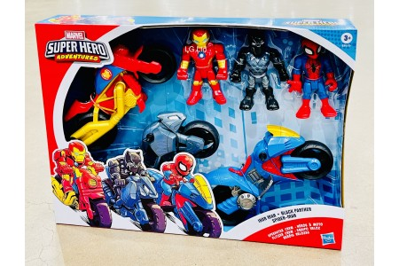 Marvel Super Hero Adventures Figures and Motorbike 3 Pack