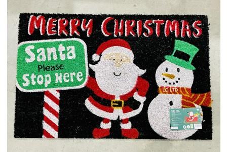 Santa Please Stop Here Christmas Doormat 60 x 90cm 100% Biodegradable by JVL