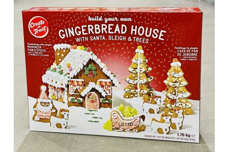Gingerbread House with Santa, Sleigh and Trees Festive Cookie Kit