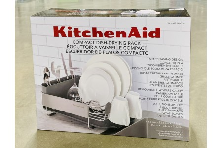 KitchenAid Compact Dish Rack with Stainless Steel Panel Grey