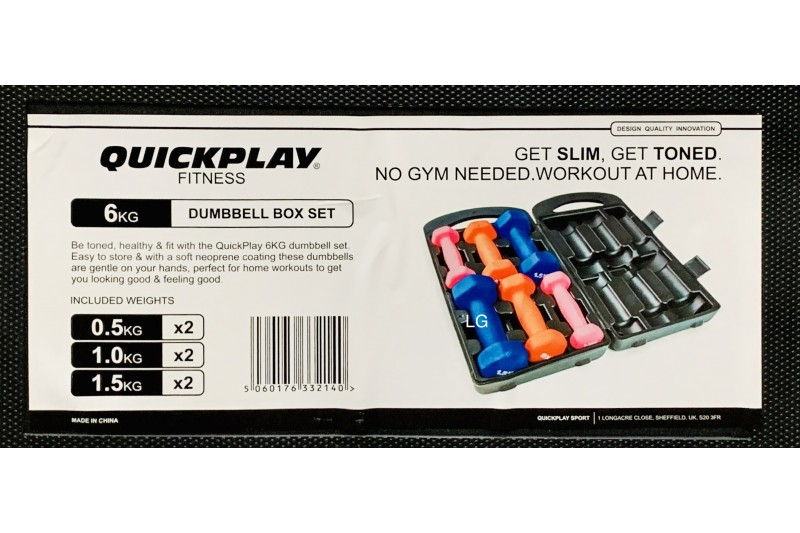 Quickplay 6kg Fitness Dumbbells Hand Weights Set With Carry Case