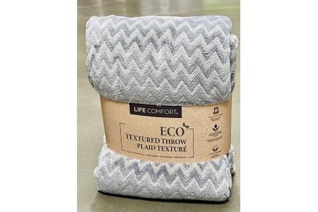 Life Comfort Light Grey Eco Textured Zig Zag Throw 152 x 177 cm