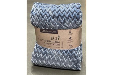 Life Comfort Faded Denim Blue Eco Textured Zig Zag Throw 152 x 177 cm