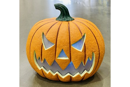 Halloween LED Pumpkin 17″ Squatty Jack O Lantern Pumpkin With LED Flickering Lights and Sounds