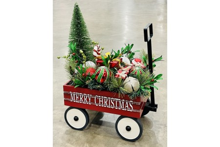 LED Toy Wagon With Floral Arrangement Indoor Christmas Decoration