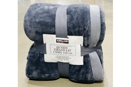 Plush Blanket Throw Slate Grey King Size 248 x 233cm Kirkland Signature