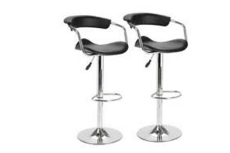 Home Meridian Gas Lift Bar Stool/Chair 2 Pack Set Black RRP £155.91