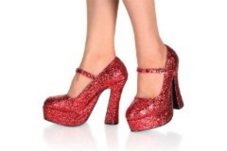 Pleaser Demonia Dolly-50G - Red Glitter sexy gothic comfort platform high heel