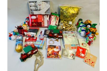 Job Lot Christmas Items Advent Train Cards Tags LED Garland Next Ribbons Bows