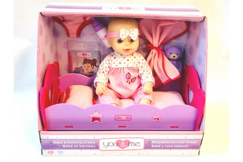 You & Me 14 Inch Blue Eye Baby Doll & Rocking Cradle - Pink