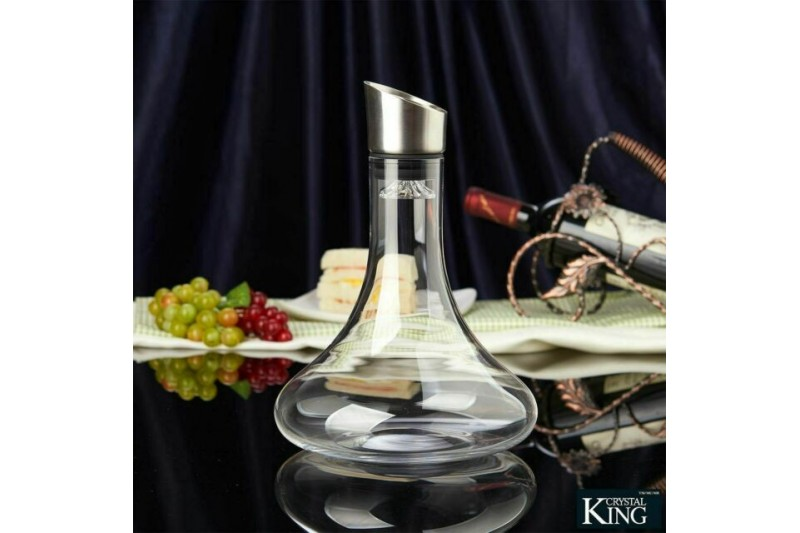 Crystalline Wine Decanter with Stainless Steel Aerator 1.8L King Crystal