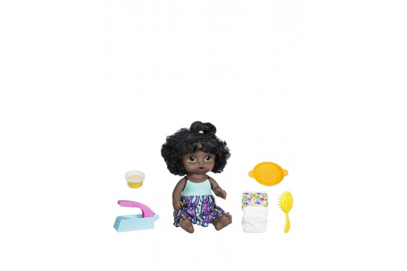 Baby Alive Snackin Noodles Baby Black Curly Hair African American Ethnic