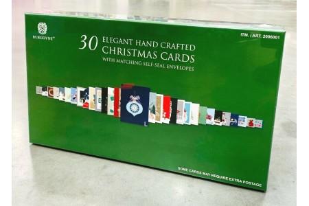 Christmas Cards Assortment 30 Pack Hand Crafted Burgoyne