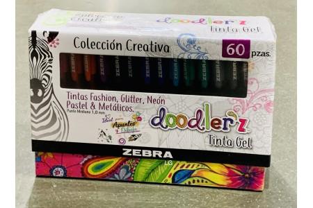 Zebra Doodler'z Gel Stick Pens Gift Box of 60 Pens