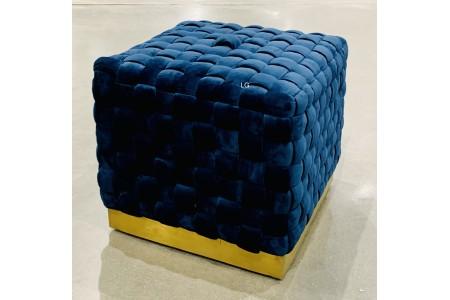 Bainbridge Home Blue Upholstered Woven Fabric Square Ottoman