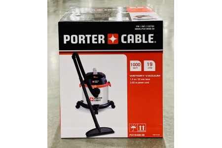 Porter Cable Wet & Dry Vacuum Cleaner 19L 1.5m Hose PCX19406-5B Black