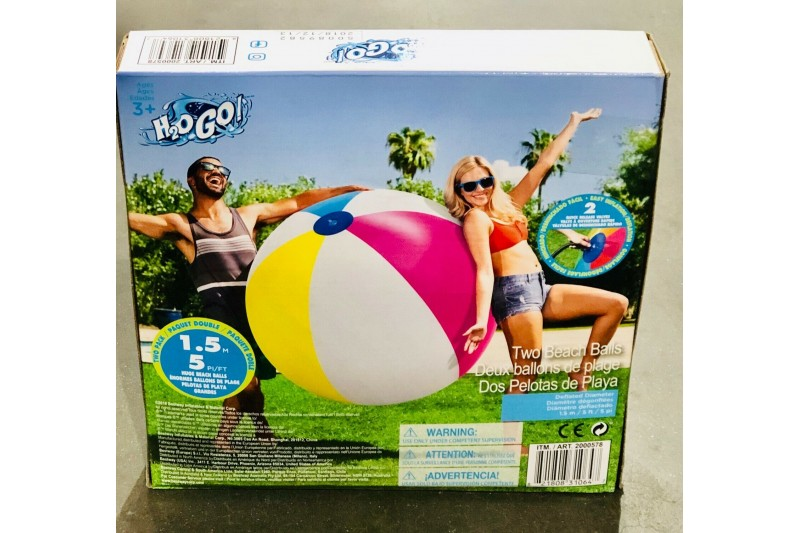 "Beach Balls 2 Pack Bestway 60"" 152cm H20 GO Summer Activity Beach"