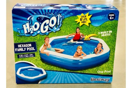 "BestWay 8ft 9"" (267 cm) H2O GO Hexagon Family Lounge Pool"