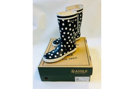 Aigle Lolly Pop Print Kids Wellington Welly Boots Navy Size 2.5