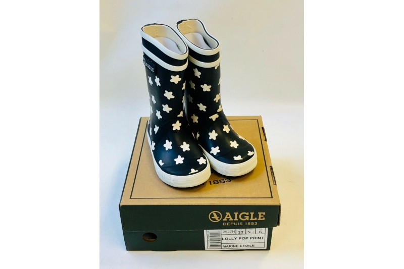 Aigle Lolly Pop Print Unisex Rains Kids Wellington Welly Boots Navy Infant 5.5