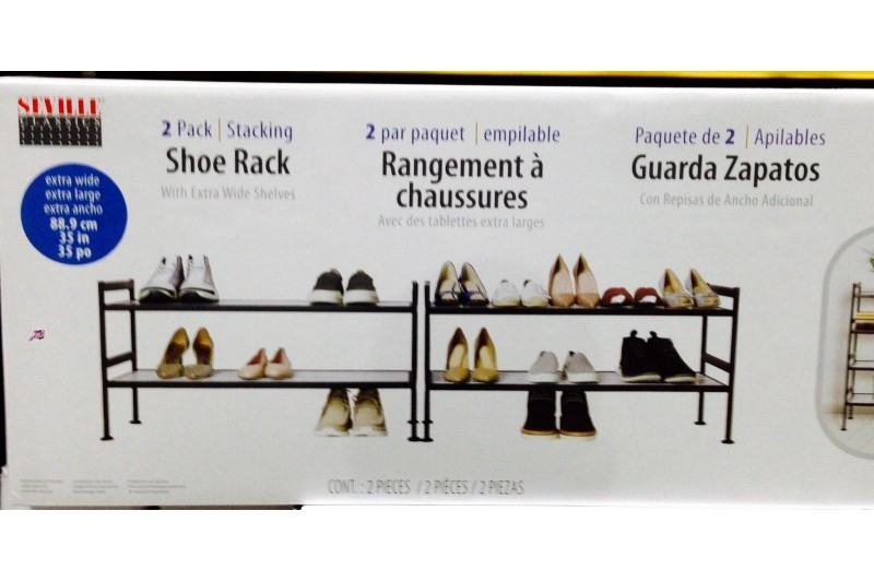 Seville Classics 2-Tier Resin Slat Utility Shoe Rack Extra Wide Shelves 2 Pack