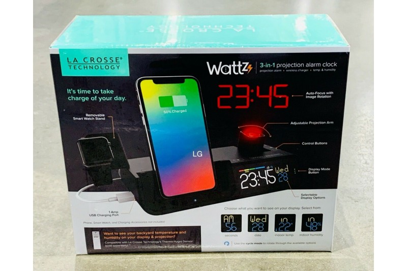 La Crosse Wattz Projection Alarm Clock Wireless Charger Phone & Watch Stand