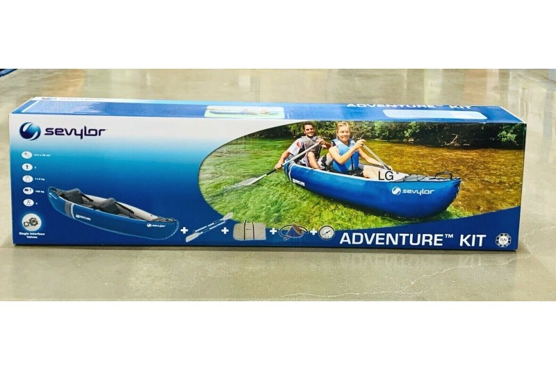 Sevylor Adventure Kit 2 Person Inflatable Kayak Canoe with 2 Paddles, Pump & Bag