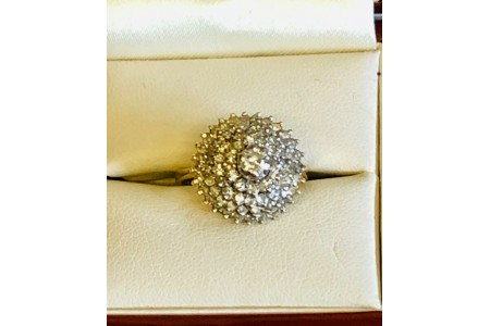 Diamond Cluster Ring 1.45ct set in Yellow Gold Size J NEW