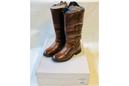 Zip Off Biker Boot Padded Leather RRP £200 Size 4 EU 37 Can be worn Short / Long