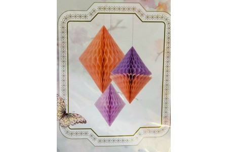 Decadent Decs Honeycomb Diamond Pack of 3 Peach and Lilac