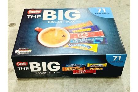 Nestle Big Biscuit Box 71 Bars Breakaway Kit Kat Toffee Crisp Yorkie Blue Riband