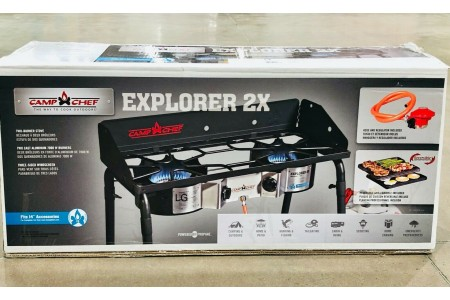 Camp Chef Explorer 2 Burner Portable Camping Stove with Grill and Griddle