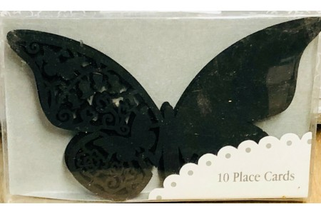 Black Butterfly Wine Glass Place Cards x 10 Dinner Wedding Tea Party