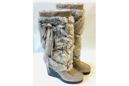 MUKS Taupe Tall Wrap Boot Suede Leather Size EU37 UK 4