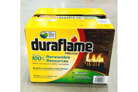 Duraflame Fire Logs Heatlogs Eco Firewood Briquettes Wood Fuel 9 x 6lb Pack