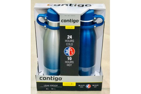 Contigo Thermalock Stainless Steel 20 Oz Water Bottles - 2-PACK Blue