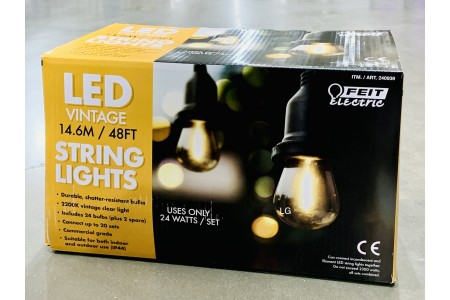 Feit 48ft (14.6 m) LED Indoor or Outdoor Weatherproof String 24 Lights Set