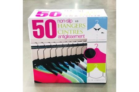 50 x Hangers Flocked Strong Non-Slip Space Saving Clothes Hanger