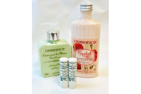 Durance Beauty Products Hand Cream Body Lotion & 2 x Lip Balms
