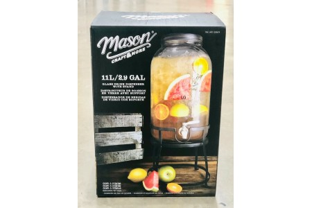 Mason Drink Jar Beverage Dispenser with Stand 11 Litres Drinks Dispenser