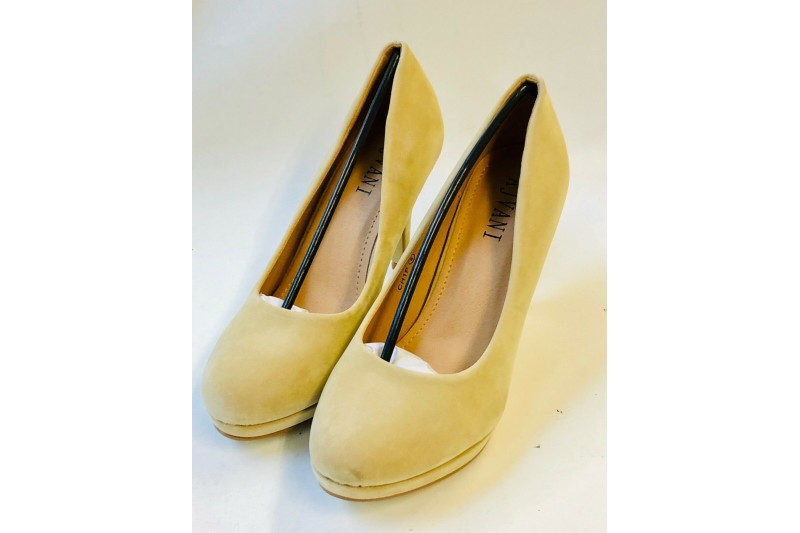 Ajvani Women's Ladies Nude Suede Mid High Heel Platform Court Shoes Size 6 CH1P
