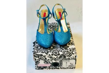 Pleaser Bordello VIO12G/TUR Turquoise Glitter T Strap Sandal Shoe Size UK 6.5
