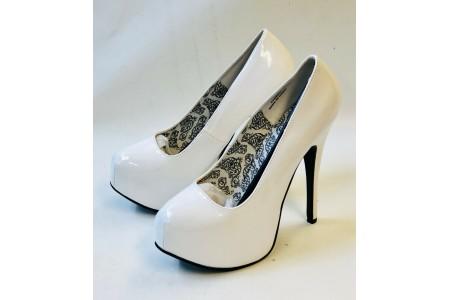 Bordello TEEZE-06 Concealed Platform Pump High Heel Shoe White Heel UK 6