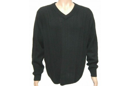 DORCE Men's Cable Knit JUMPER V-Neck Sweater BLACK Lambswool Blend Large