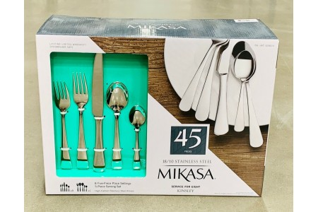 Mikasa Kinsley 45 Piece Cutlery Set 18 / 10 Stainless Steel Knife Fork & Spoon