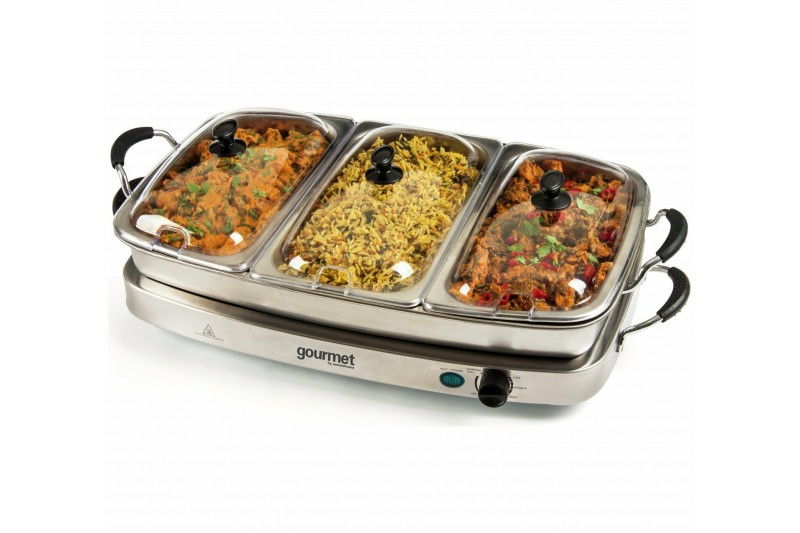 Gourmet Triple 6.4L Buffet Server with Warming Tray GBSTBS005 HOT FOOD PLATE