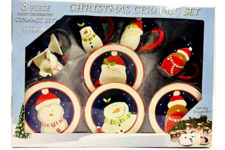 8 Piece Christmas Ceramic Mug and Plate Set