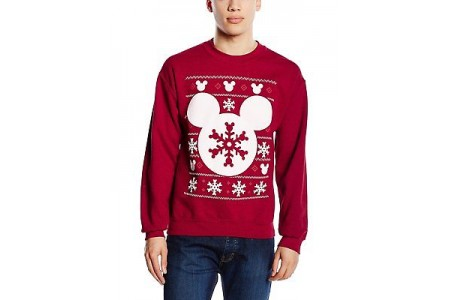 Disney Licensed Mickey Mouse Silhouette Christmas Snowflake Jumper Sweatshirt