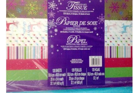 120 SHEETS CHRISTMAS GIFT TISSUE PAPER, PRINTED, HOLOGRAM, PLAIN 8 DESIGNS
